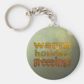 Warm holiday greetings key chain