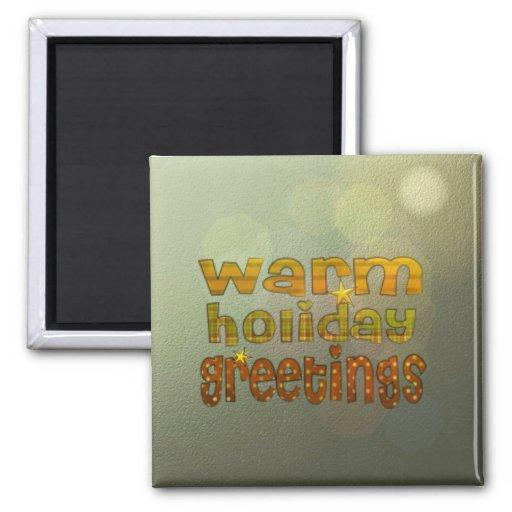Warm holiday greetings fridge magnets