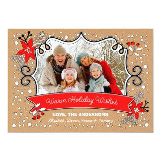 "Warm Holiday Wishes. Custom Christmas Photo Cards 5"" X 7"" Invitation Card"