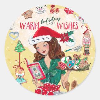 Warm Holiday Wishes | Round Sticker