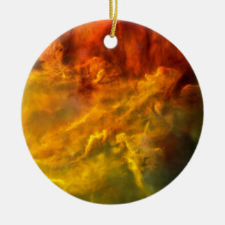 Warm Lagoon Nebula Ceramic Ornament