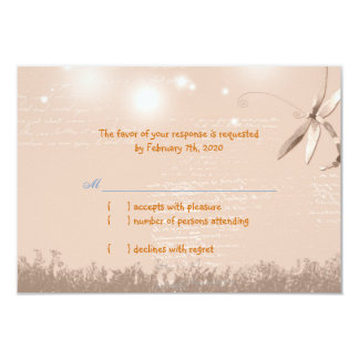 Warm Light Brown Dragonfly Wedding RSVP 9 Cm X 13 Cm Invitation Card