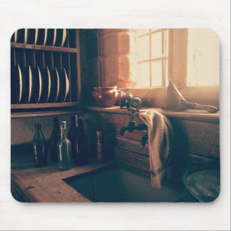 Warm light in a rustic kitchen mouse pad