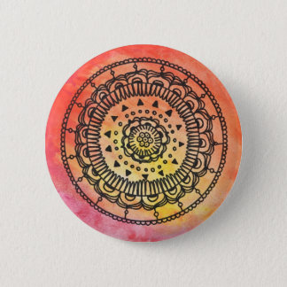 Warm Mandala Button By Megaflora
