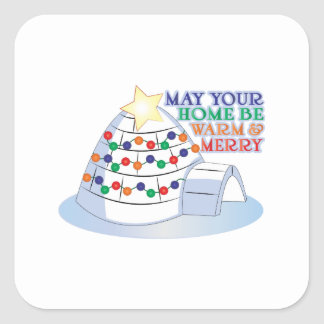 Warm Merry Square Stickers