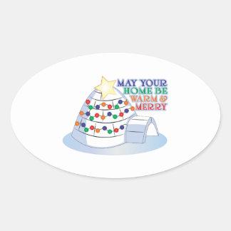 Warm & Merry Oval Stickers