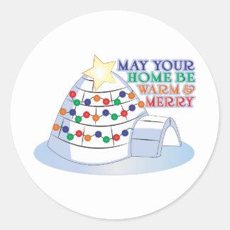 Warm Merry Round Stickers