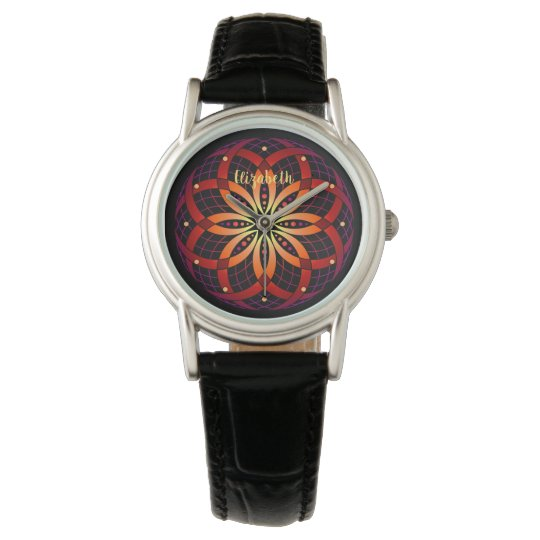 warm ombre gradient mandala custom name women's watch
