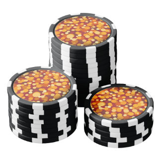 Warm Orange and Red Blurred Party Lights Poker Chips