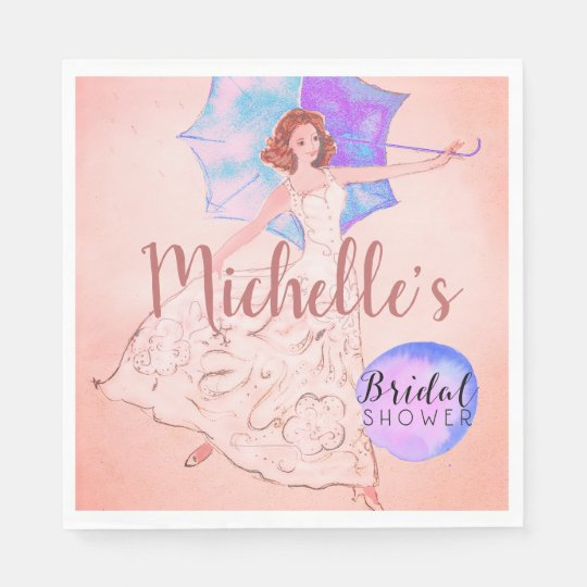 Warm Pink Bridal Shower Bride Illustration Disposable Napkin