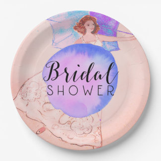 Warm Pink Bridal Shower Bride Illustration Paper Plate