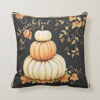 Warm pumpkins with black bckgrd 'Thankful' pillow. Cushion
