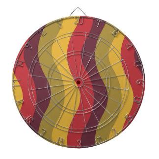 Warm Red Mix Wavy Stripes Dartboard