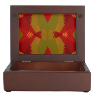 Warm Retro Pattern in Olive Gold Red Keepsake Box