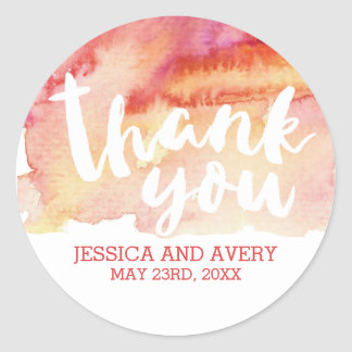 Warm Romance Watercolor Thank You Classic Round Sticker
