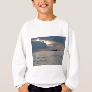 Warm sea sunset with cargo ship and a small boat sweatshirt