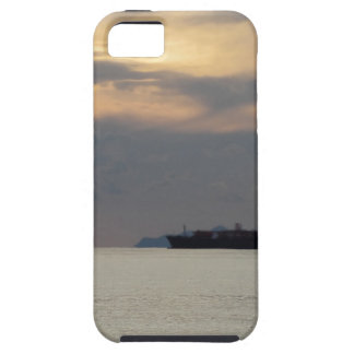 Warm sea sunset with cargo ship at the horizon iPhone 5 case