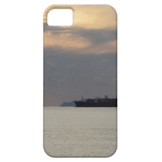 Warm sea sunset with cargo ship at the horizon iPhone 5 cases