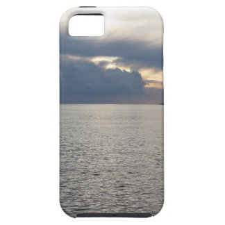 Warm sea sunset with cargo ship at the horizon iPhone 5 cover