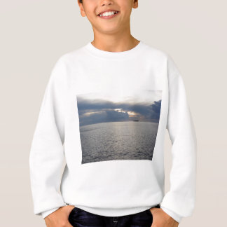 Warm sea sunset with cargo ship at the horizon sweatshirt