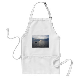 Warm sea sunset with cargo ships standard apron