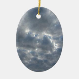 Warm sky with giants cumulonimbus clouds at sunset ceramic ornament