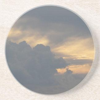 Warm sky with giants cumulonimbus clouds at sunset drink coaster