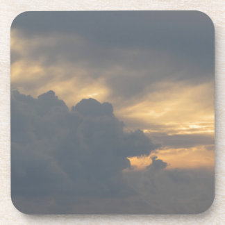 Warm sky with giants cumulonimbus clouds at sunset drink coasters