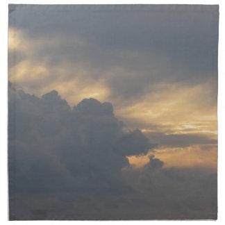 Warm sky with giants cumulonimbus clouds at sunset napkin