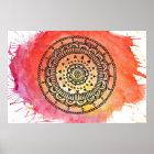 Warm Sun Mandala Poster. Poster