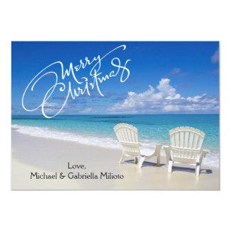 Warm Sunny Beach With Chairs Christmas Card