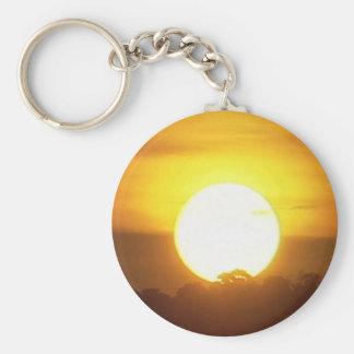 Warm Sunset Golden Horizons Basic Round Button Key Ring