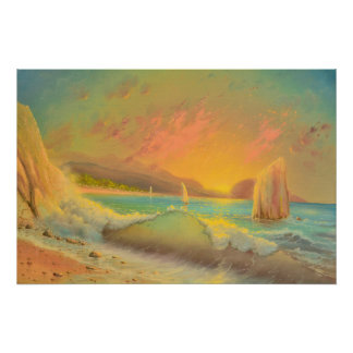 Warm sunset on the beach (Oil painting Poster) Poster