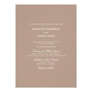 Warm Taupe Beige with White Wedding Detail 14 Cm X 19 Cm Invitation Card