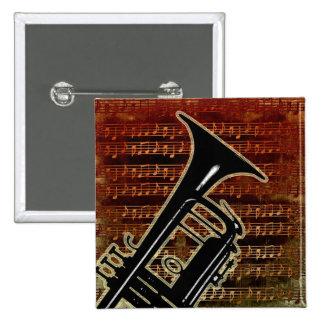 Warm Tones Trumpet 15 Cm Square Badge