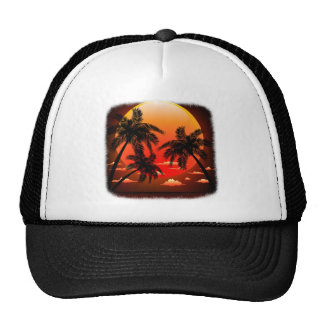 Warm Topical Sunset and Palm Trees Trucker Hat