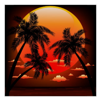 Warm Topical Sunset and Palm Trees posters