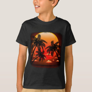 Warm Topical Sunset and Palm Trees Tee Shirt