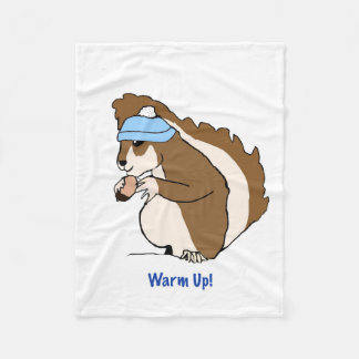 Warm Up! Cute Squirrel with Hat Blanket