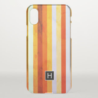 Warm Weathered Orange Red Stripes Monogram iPhone X Case