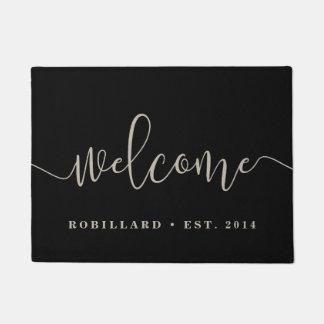 Warm Welcome | Modern Calligraphy Personalised Doormat