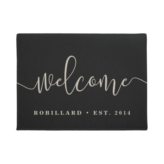 Warm Welcome Modern Calligraphy Personalised Doormat