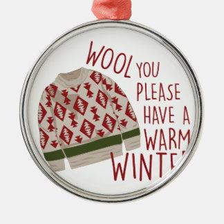 Warm Winter Silver-Colored Round Decoration