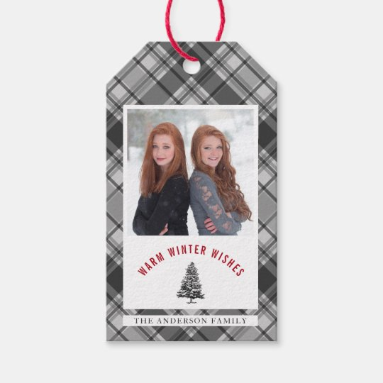 Warm Winter Wishes I Grey Plaid Photo Christmas Gift Tags