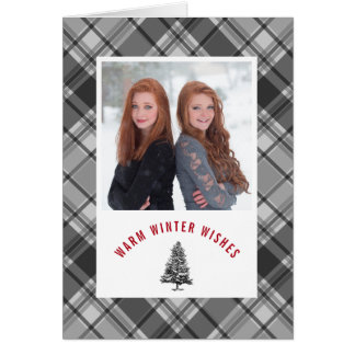 Warm Winter Wishes Plaid Spruce Photo Christmas Card
