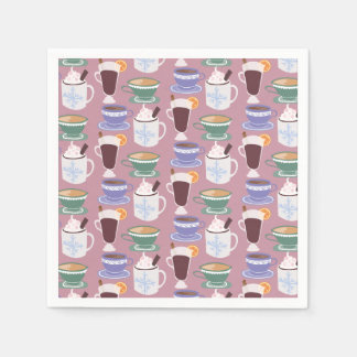 Warm Wintery Drinks Print Disposable Napkins