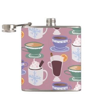 Warm Wintery Drinks Print Hip Flask
