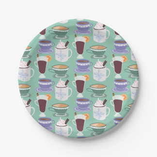 Warm Wintery Drinks Print Paper Plate