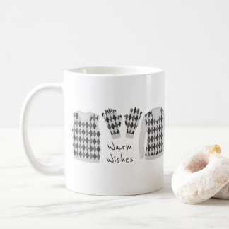 Warm Wishes Argyle Pattern Items Mug - Gray