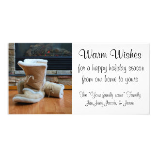 Warm Wishes - Boots by fireplace Photo Greeting Card